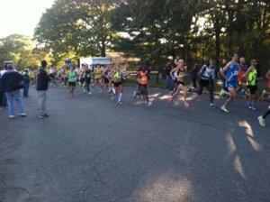 The first mile in the BAA half marathon!