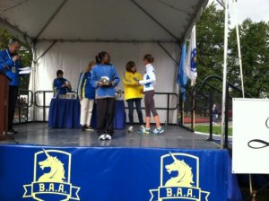 Getting my 4th place award at the BAA half marathon!  Fun & hilly course!