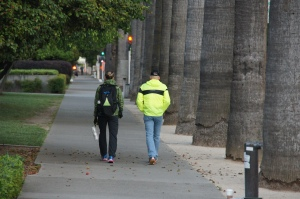 Coach and I walking to the start of the Sactown 10-mile.  It's always fun to celebrate a good race with a few days off!