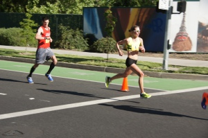 My sprint to the finish!  Learning to run strong at the end when I am tired!